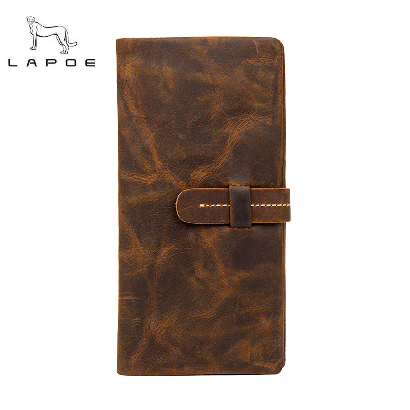 LAPOE Men Wallets Famous Brand 100% Crazy Horse Leather Wallet Men Card Holder With Coin Pocket long Vintage Design Wallet Purse simline vintage genuine crazy horse cow leather men men s long hasp wallet wallets purse zipper coin pocket holder with chain
