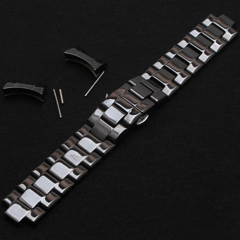 Black Watchband Polished Ceramic Watch strap bracelet 22mm Free Special Curved ends Watch Accessories fir brand hours men watch dull polished mixed beaded bracelet