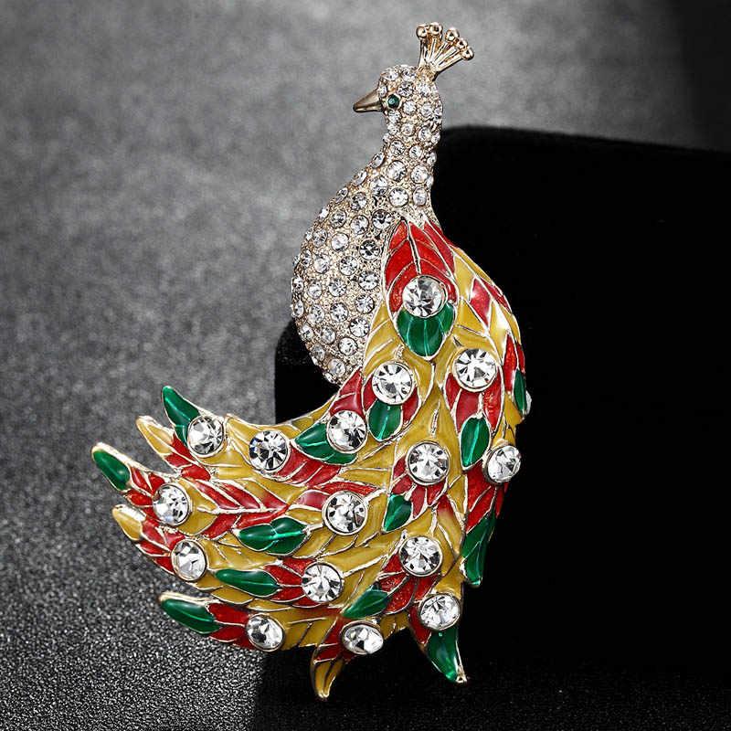 Sempurna Berlian Imitasi Enamel Merak Hadiah colorful Bros Pins Bros Untuk Wanita Dan Tas Fashion Aksesoris Broches Hijab pins