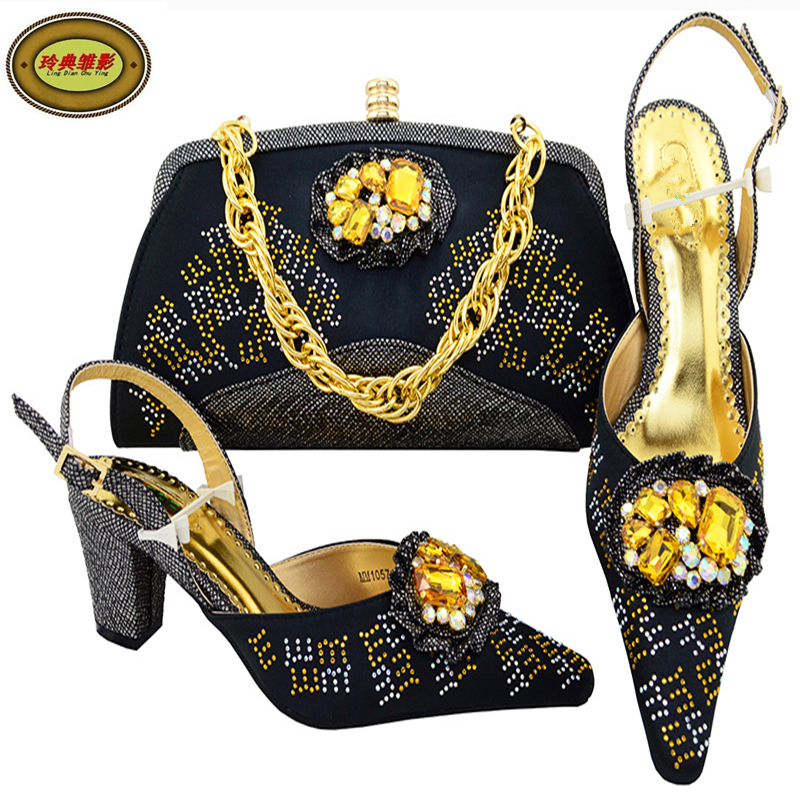 Фото MM1057 Black Latest Rhinestone Bridal Wedding Evening Shoes And Bag Set African Shoes High Heels Pumps With Purse Free Shipping