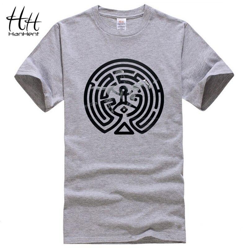 HanHent 2018 Nouvelle TV Westworld Labyrinthe Imprimé T Shirts Hommes à Manches courtes O-cou Coton Ouest Monde Dolores Hommes De Mode T-shirt t-shirts