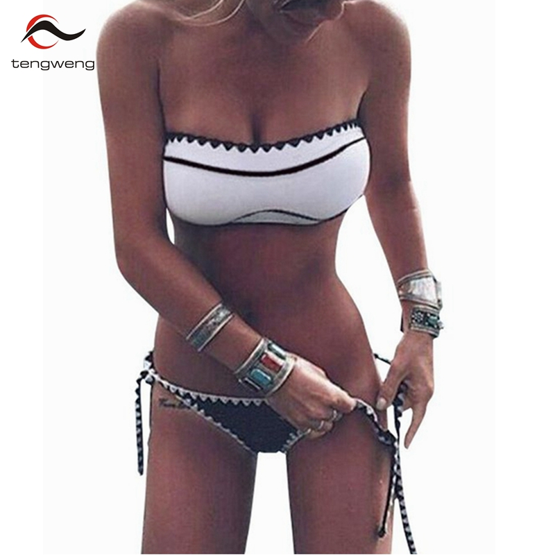 2017 Black White Sexy Swimsuit Bandeau Push Up Bikini Set Swimwear Brazilian Halter Bandage BathingSuit Bandage Thong Beachwear
