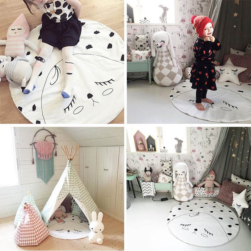 Baby Gyms & Playmats 2019 New Style 101cm Kids Play Game Mats Round Animal Carpet Rugs Mat Cotton Crawling Blanket Floor Carpet Toys Room Decoration Ins Baby Gifts
