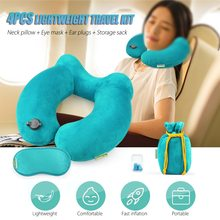 Inflatable Neck Pillow Travel Airplane Camping Mattress Portable Outdoor Sleeping Gear