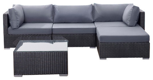 living room furniture outdoor 9 piece black deep seating sectional sofa setchina - Deep Sectional Sofa
