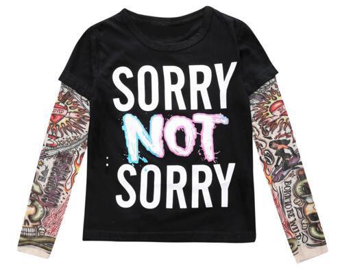 2020 Spring Boy clothes Cotton T-shirt Long sleeve Children Tattoo Tees Baby girls boys sweatshirt SORRY NOT SORRY/HIPSTER print