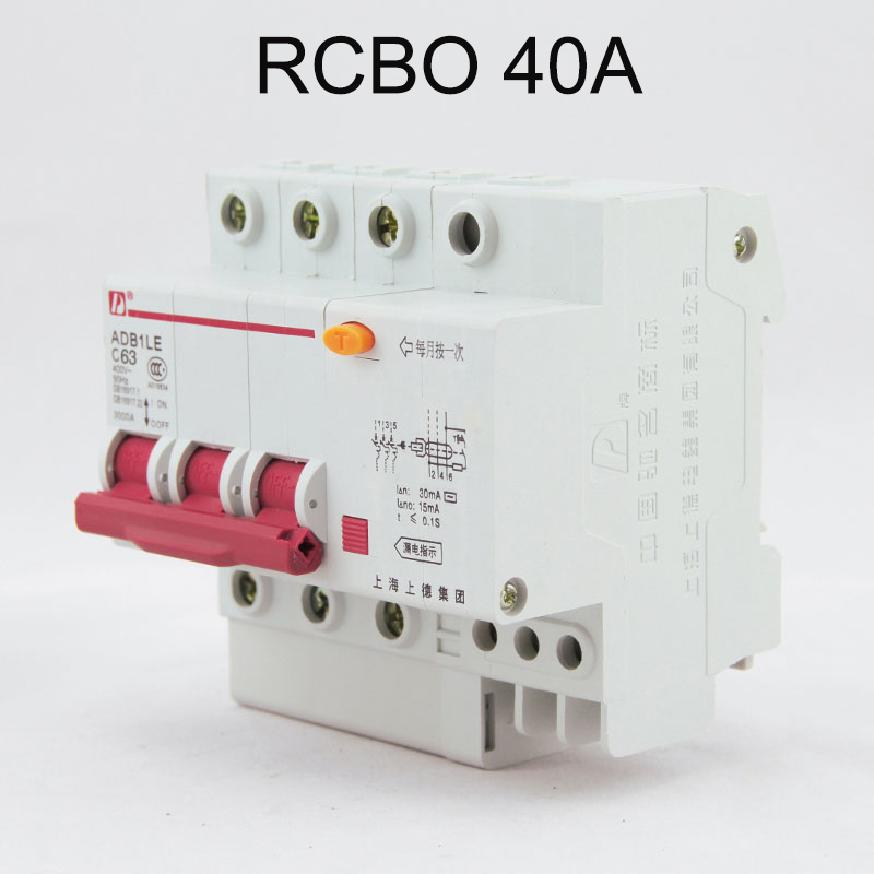 DZ47LE 3P+N 40A 400V~ 50HZ/60HZ Residual current Circuit breaker with over current and Leakage protection RCBO dz47le 3p n 40a 30ma 230 400v small leakage circuit breaker dz47le 40a household leakage protector switch