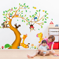 T04030 Nursery Room Decor Wall Stickers For Kids Rooms Oversize Jungle Animals Tree Monkey Owl Removable