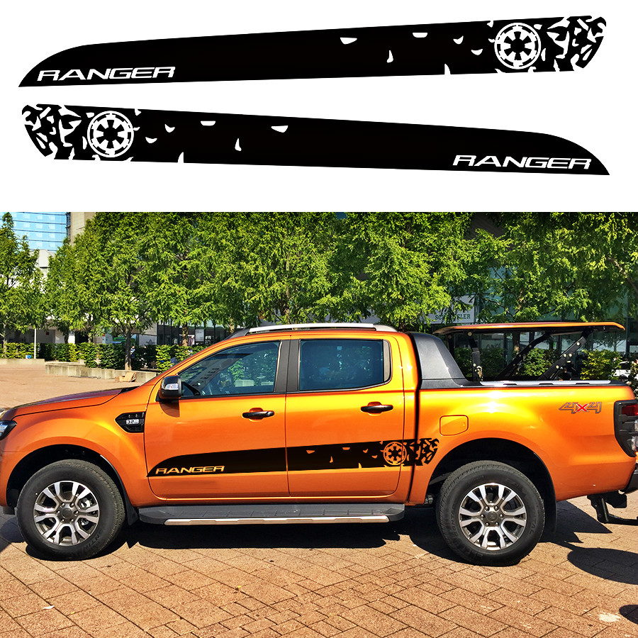 2pc cool side door STAR WAR styling graphic vinyl car accessories decals for Ford ranger 2012-2017 car stickers 2pc claw scratches body side graphic vinyl decals for ford ranger2012 2015 truck decals badges detailing sticker