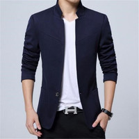 Big Mens Chinese Blazers Casual XXXL 4XL 5XL New Arrivals 2018 Blue Black Grey Red Stand Collar Blazer Mens Fashion Clothing
