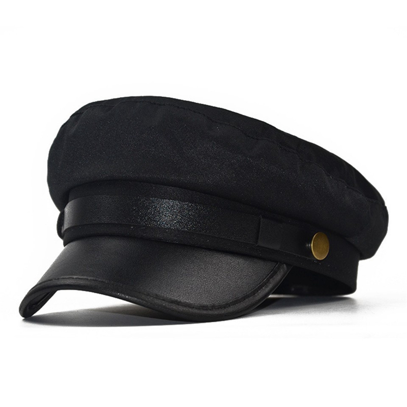 PU Leather Military Cap Men Cotton Kepi Army Cap Sailor Hats For Women Men Flat Top Female Travel Cadet Hat Captain Military Hat