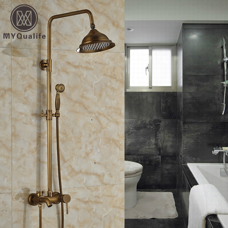 Brass Antique Outdoor Shower Faucet Wall Mount 8 Rainfall Bath Shower Mixer Tap Single Handle Adjust Height china sanitary ware chrome wall mount thermostatic water tap water saver thermostatic shower faucet