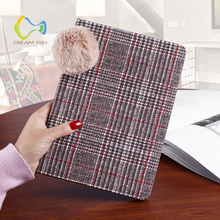 DREAM FISH Silicon Leather Cover for iPad Air 2 Luxury Hairy lanyard lattice wool Flip Smart stand Case for Apple ipad 6 tablet