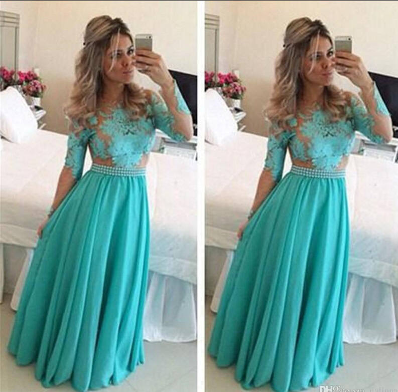 Long Sleeve Prom Dresses 2017 Lace Applique Formal Long Bridesmaid Dresses A Line Chiffon Party Gowns
