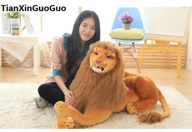 large 105cm prone lion plush toy simulation lion soft doll hugging pillow birthday gift s0852 creative simulation plush soft fox naruto toy polyethylene