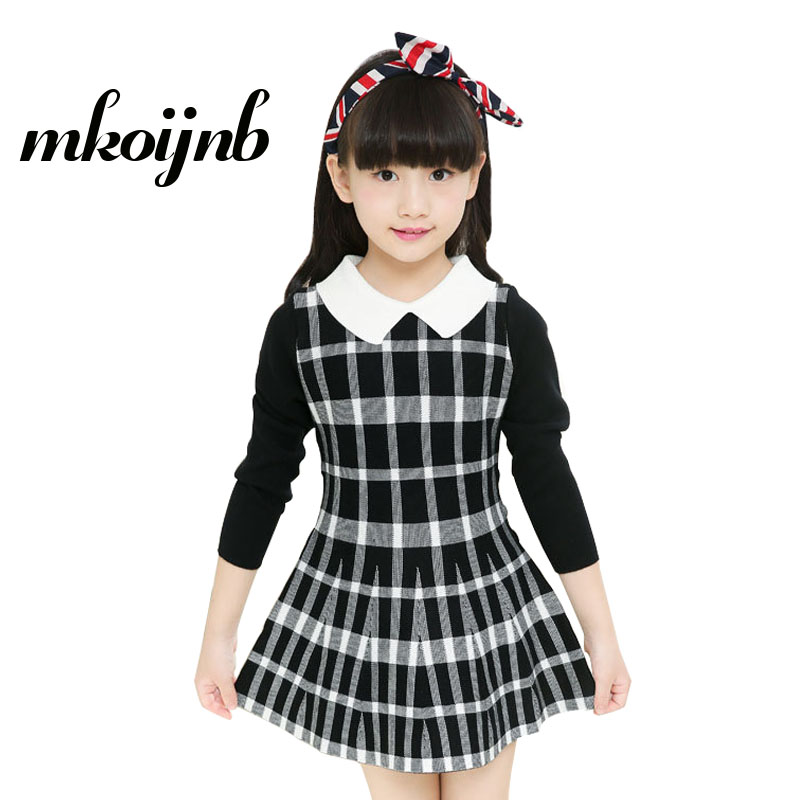 2018 Kids Plaid Dress Long Sleeve Girl Knit Sweater Dress Winter Princess Teen Girl Dress For 4 6 8 10 12 years Children Clothes plaid long sleeve belted midi dress