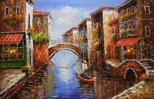 цена на Hand Painted European Style Oil Painting on Canvas Abstract Water City Venice Oil Painting Wall Painting Picture for Living Room