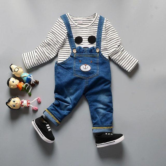 528b5462e Baby Boy Girl Mickey Mouse Cotton Thicken Tracksuit Clothing Set Children  T-shirt Coat Jeans 2pcs Kids Bib Coveralls Sport Suit