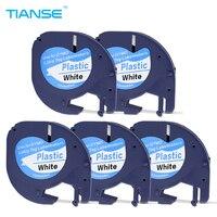 5PK Lot Compatible DYMO Letratag Plastic Tape 12mm Black On White LT 91201 For Dymo LT
