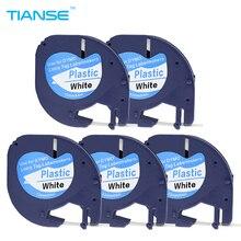 Tianse 5 шт./лот Совместимость DYMO letratag пластиковые ленты 12 мм черный на белом LT 91201 для Dymo LT принтера