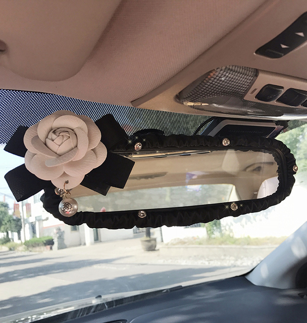 Camellia Flower Car Interior Rear View Mirror Cover Leather Auto Rearview Mirror Decoration Accessories For Women and Girls
