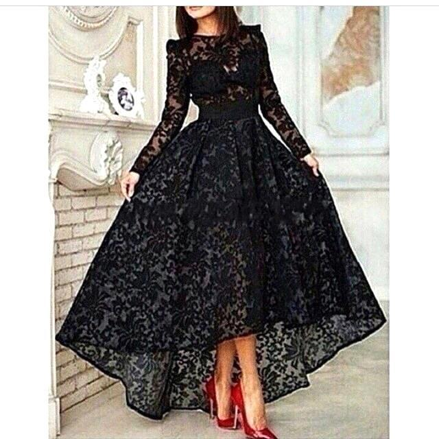 Black Lace Long Sleeve Arabic Evening 2018 Front Short Long Back High Low Prom Party Dubai Arabic Mother Of The Bride Dresses
