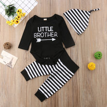 Family Clothes Set Little Big Bro Short Sleeve Romper T-shirt Striped long Pants Hat Baby Boy Outfits set
