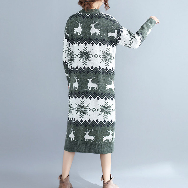 Long Sleeve Christmas Elk Snowflake Long Sweater Dress 2018 Winter Lagenlook Stitching Loose Thickening knitting Tunic 4
