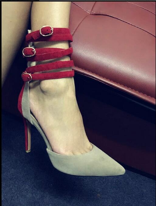 2018 New Fashion Spring Summer Thin High-Heels Pointed Toe Shoes Office Lady Buckle Strap Mixed Color Ankle Strap Women Shoes new spring autumn ankle strap women shoes big size 32 46 fashion pointed toe buckle strap thick heel high heels zapatos mujer