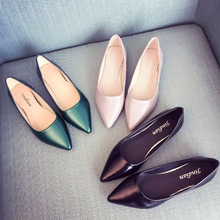 2020 verão nova chegada trabalho ol moda feminina sapatos de couro boca rasa dedo do pé apontado deslizamento em apartamentos único sapatos tamanho grande 35 40