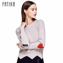 Fatika Новый 2017 модный свитер Для женщин Сплошной Пуловеры с длинным рукавом О-образным вырезом Аппликации АСИММЕТРИЧНЫМ ПОДОЛОМ трикотажные джемперы для дамы