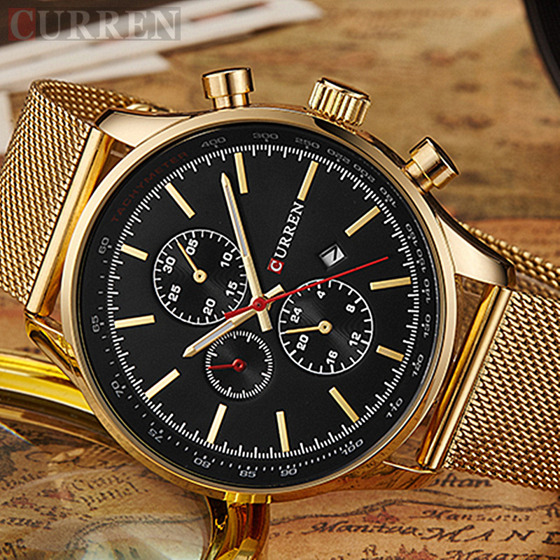 Curren Luxury Brand Men s Watches Gold Watch Men Quartz Clock Full Steel Mesh Strap Date