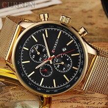 Curren De Luxe de Marque Hommes Montres Or Montre Hommes Quartz Horloge En Acier Plein Bracelet En Maille Date Militaire Montre-Bracelet Relogio Masculino