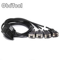 OBDTOOL OBD2 16 Pin Cable Wiring Cord 1 Male To 4 DB9 Interface for RS232 Diagnostic Tool Serial Port RS232 Interface