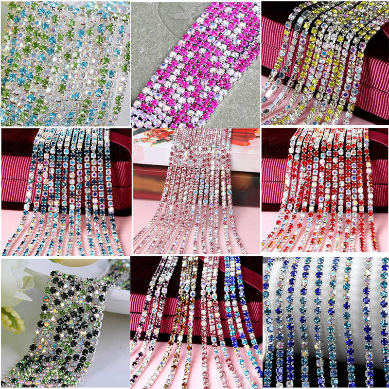 Fashion 1M/lot 18 Color Transparent AB Rhinestone Chain 2/2.5/2.8/3mm For DIY Craft Sewing Clothes Jewelry Accessories
