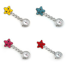 Women's Smile Face Nurse Brooch Fob Tunic Pocket Watch Star Shape Pocket Watch