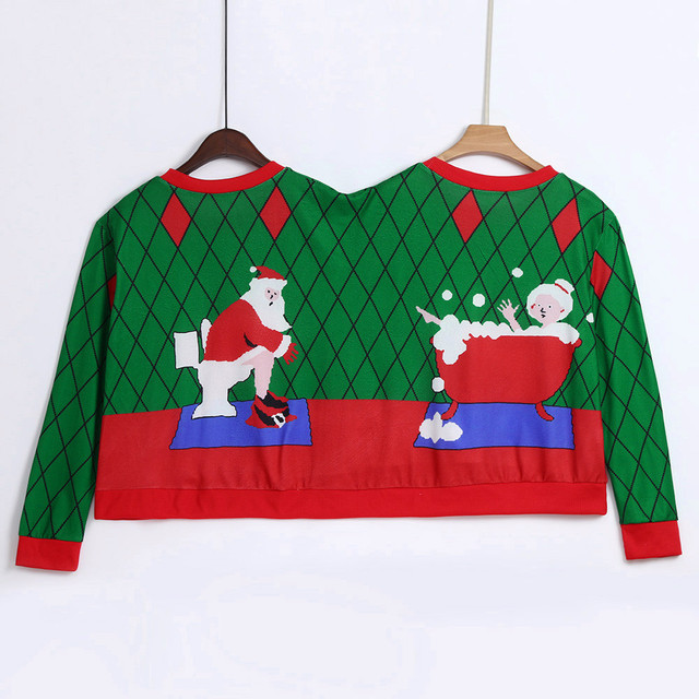 Two Person Long Sleeve Winter Sweatshirt Unisex Couples Pullover Novelty Christmas Blouse O Neck clothes sudaderas para mujer 2
