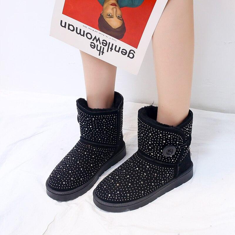 Hebilla Femenina 41 Botas Zapatos De 2019 Negro Invierno 36 Cristal Piel Tamaño plata Mujer Moda Para Algodón Cálidas Tobillo Casual Con Nieve BwExqOxT