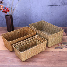 Handmade straw weaving storage of things fruit dish basket for sundries cosmetic Snacks box use for kitchen bathroom gift(China)