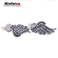 Authentic 925 Sterling Silver Angel Wing Phoenix Feather Stud Earrings Clear CZ Compatible With Pandora Earrings