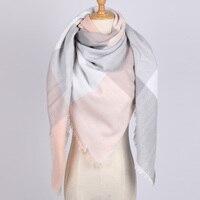 Модные брендовые женские шарф в клетку негабаритных одеяло зимние кашемировые квадратный платок Размеры 140 см x 140 см оптовая продажа