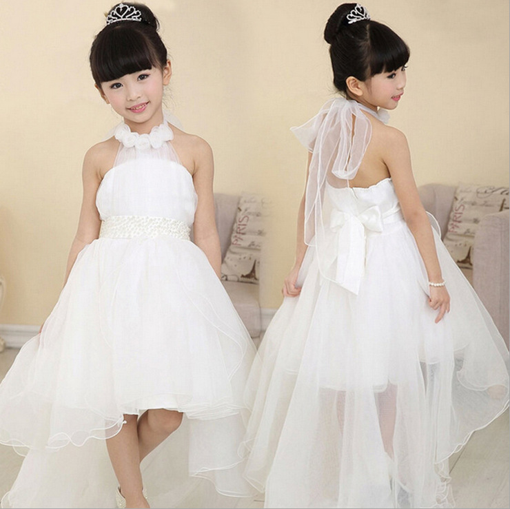 Kids Children Lace Ball Gown Flower Girls Floor Length Beading Tutu Princess Dress For Wedding Stage Dresses Vestidos S2835