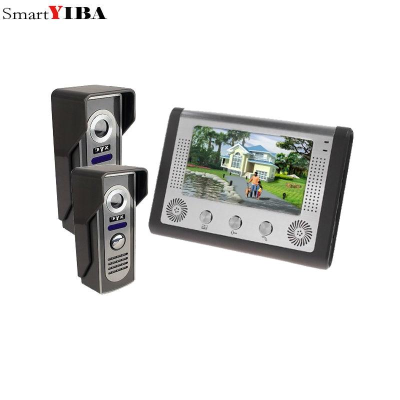 SmartYIBA 7 Inch Video Door Phone Doorbell Intercom Kit 2-camera 1-monitor Night Vision 7 inch video door phone doorbell intercom kit 1 camera 1 monitor night vision 812fa11