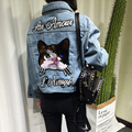 2016 new arrival autumn and winter embroidery cat cotton denim jacket women slim short jeans jackets