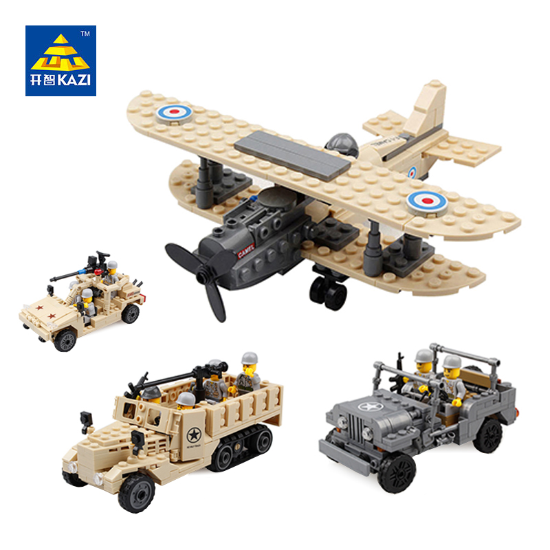 KAZI Army Brand Jeep Car Military Truck Model Building Blocks Toy Bricks Sets Brinquedos Intelligent Toys F-1 Camel Fighter Hum kazi 6726 police station building blocks helicopter boat model bricks toys compatible famous brand brinquedos birthday gift