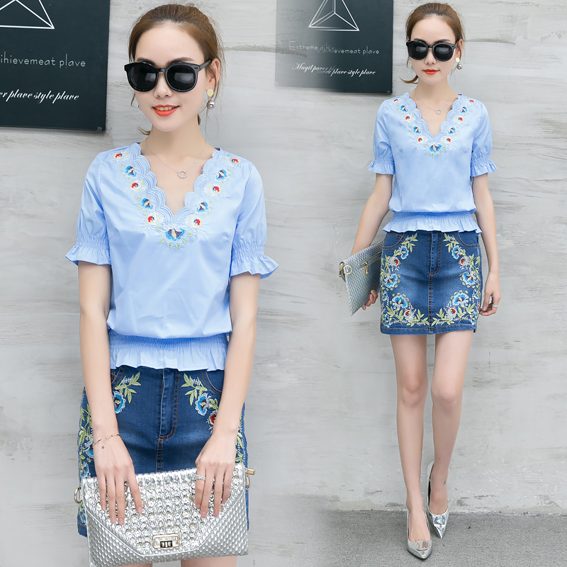 925a8c740b Women V Neck Blouse Denim Skirt Outfit New Korea Fashion Embroidery Decor  Two Piece Woman Cowboy Short Skirts Suit Size S 2XL-in Women s Sets from  Women s ...