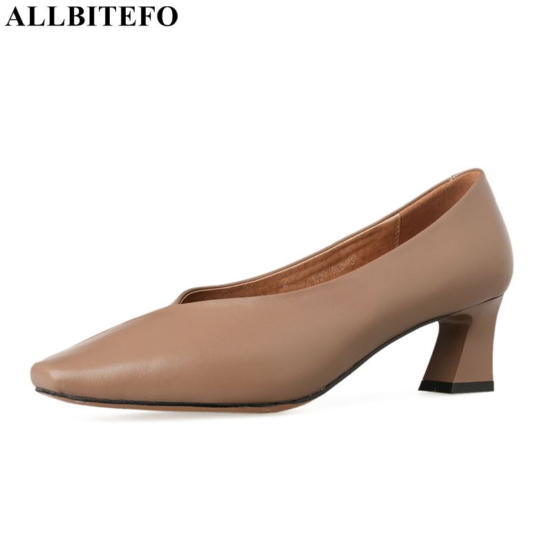 ALLBITEFO square toe genuine leather high heels women shoes high quality office ladies shoes women high