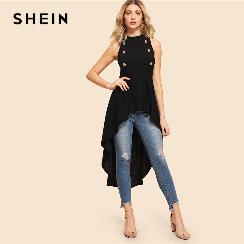 SHEIN negro elegante fiesta doble botón asimétrico embellecido Dip Hem Shell cuello redondo blusa verano mujeres Casual Camisa Top