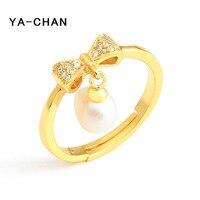 YA-CHAN جديد موضة 18 كيلو الذهب خاتم اللؤلؤ والمجوهرات ل المرأة لطيف bowknot خواتم الزفاف 925 فضة خواتم غرامة مجوهرات