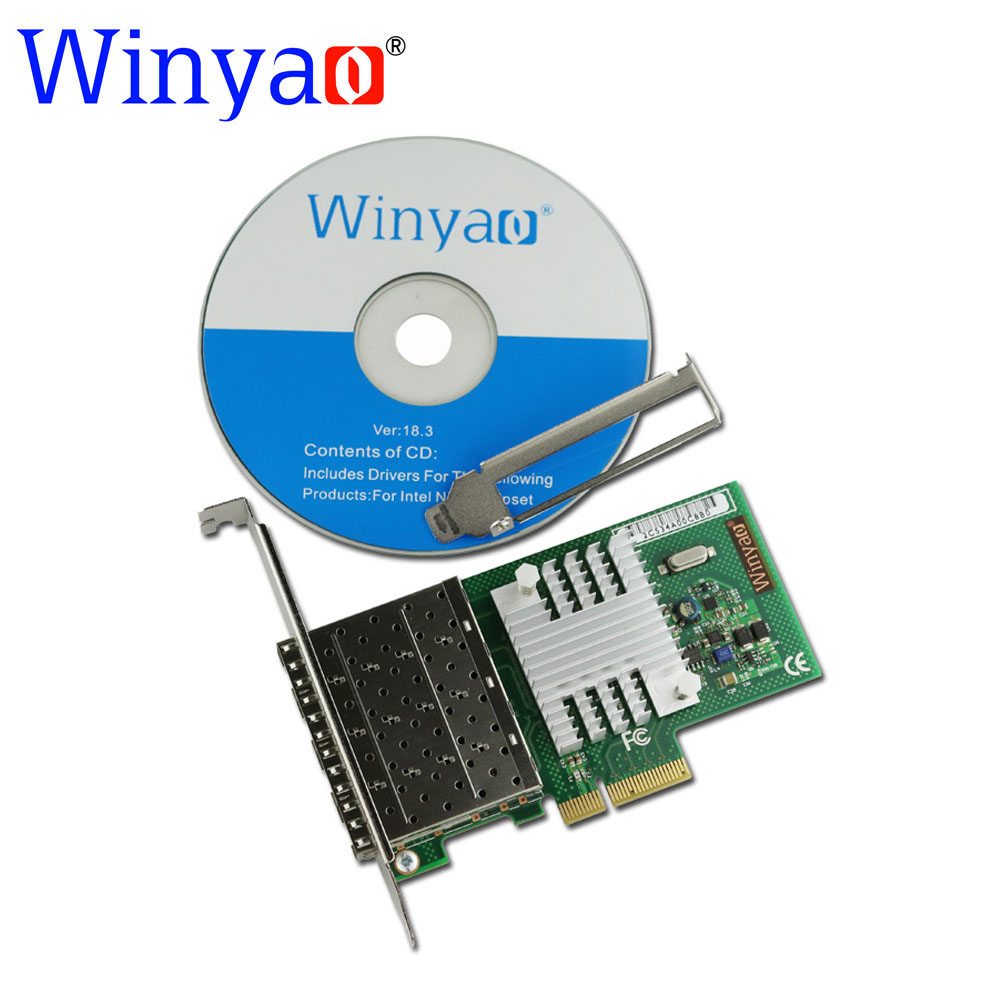 Winyao WYI350F4-SFP PCI-E X4 Quad Port Gigabit Ethernet Lan Fiber Server network card(1310nm) For I350-F4 1000Mbps Nic winyao wy576 f1 pci e x4 gigabit fiber server network card adapter green